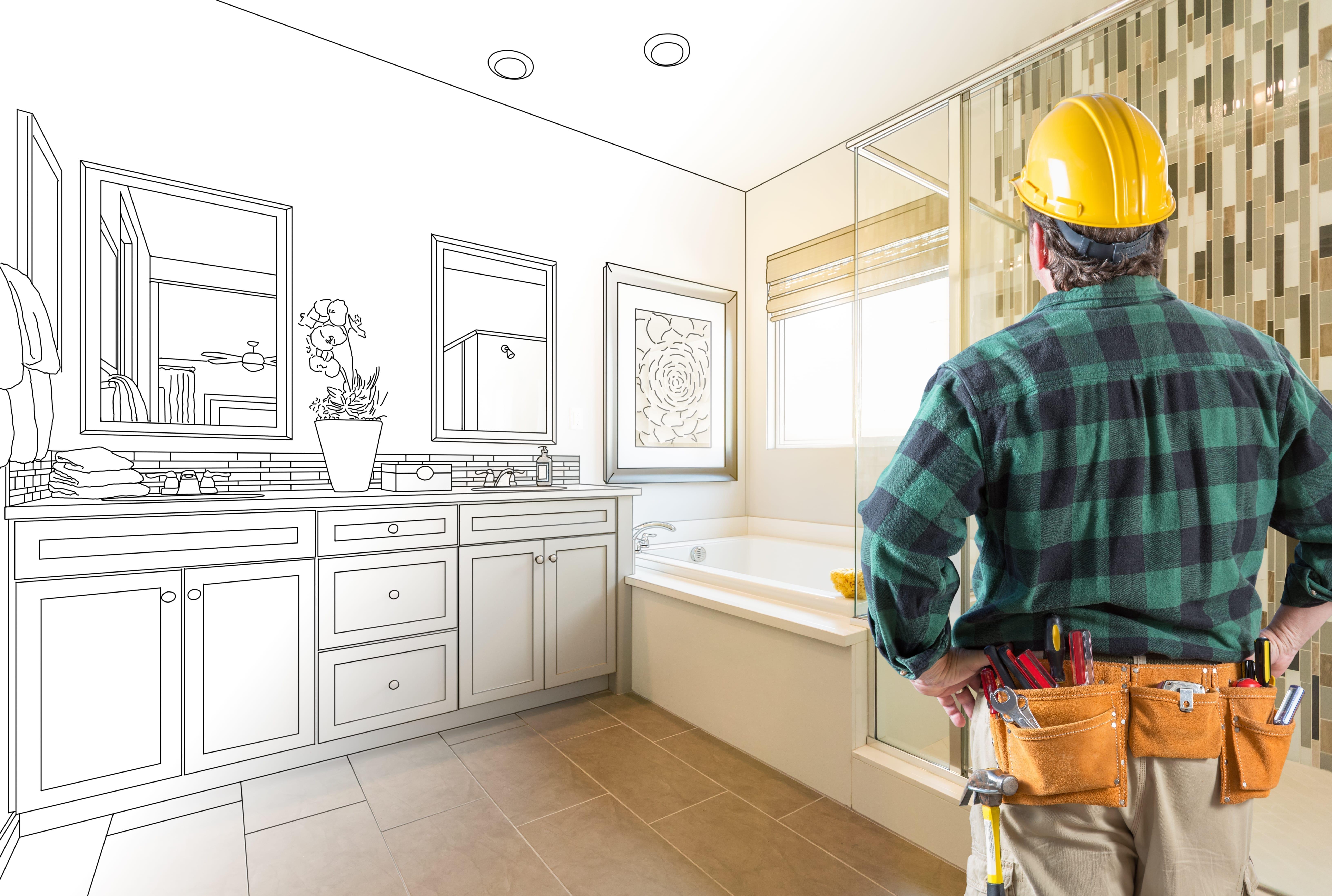 Contractor,Facing,Custom,Master,Bathroom,Drawing,And,Photo,Gradation.